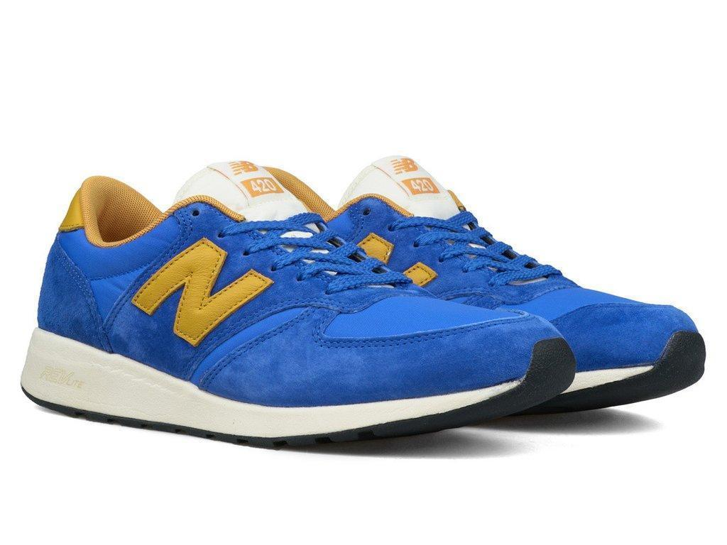 New Balance 420 Re-Engineered MRL420SV Suede Blue Yellow Mens Size 11