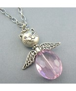 Cat Angel (Pink) Glass Beaded Necklace - $9.95