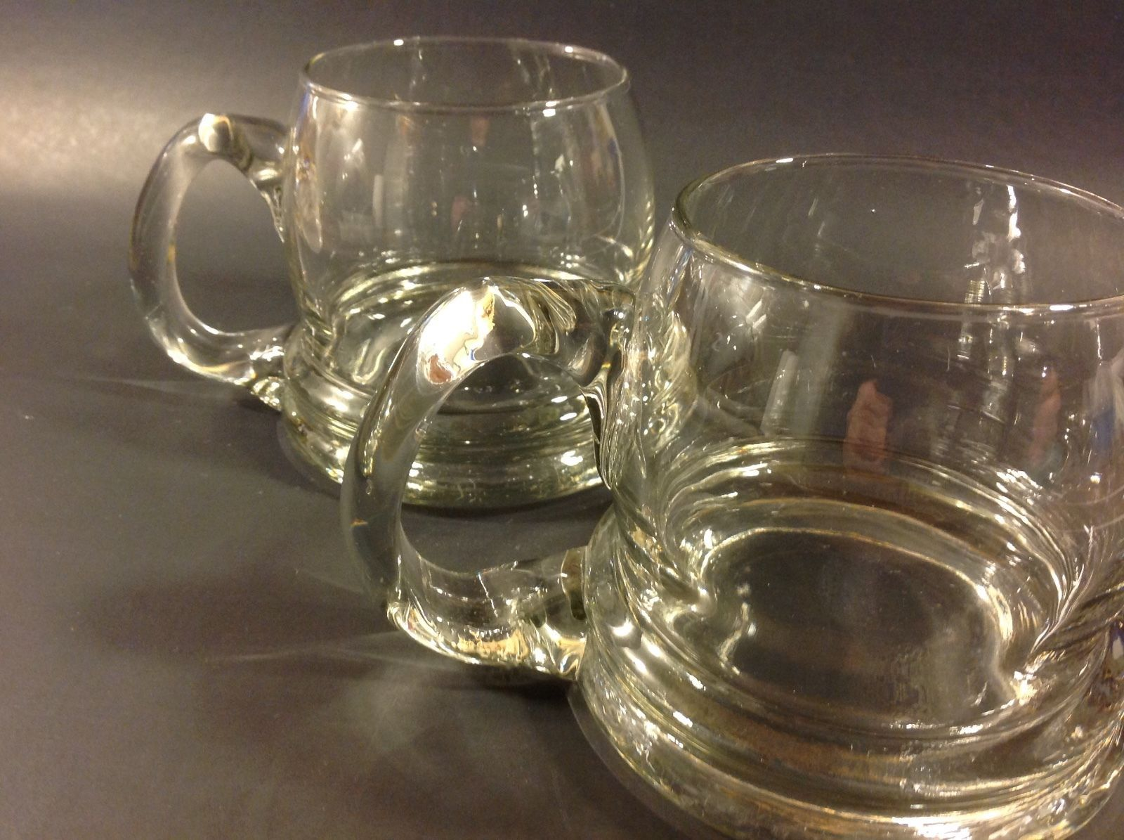 Vintage Clear Glass Mug Hand Blown Heavy Large Bottom