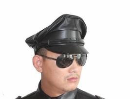 New Men's Police Style 100% Real Goatskin Leather Black Hat - $110.00