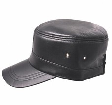 New Fashion Men's 100% Real Leather Hat / Officers cap / Flat Beret/ Gol... - ₨1,395.03 INR