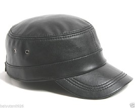 New Men's 100% Genuine Leather Military Cap Baseball Adjustable Hats US - $13.85