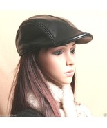 Women's Black Real Leather Fashion Newsboy Ivy Cabbie cap Gatsby Flat Go... - $18.88