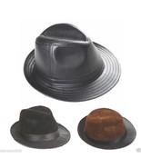 Men's Real Sheepskin Leather Black Bucket Cap/ Fedora hat /Gentleman Hat... - $14.84+