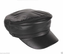 New Men's Women's 100% Genuine Leather Police Hat/ Newsboy caps/ Navy hat - $19.99