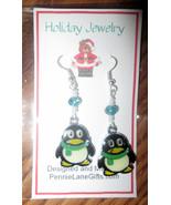 Handmade Pair of Enamel Penguin Christmas Earrings  made with Swarovski Crystals - $8.99