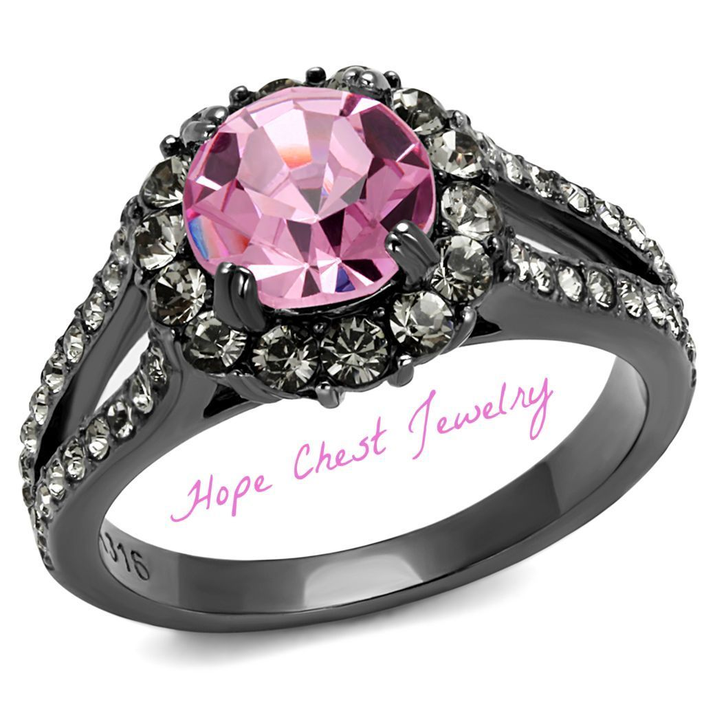 HCJ 1.65 CARAT DARK GRAY STAINLESS STEEL PINK CRYSTAL ENGAGEMENT RING SIZE 7