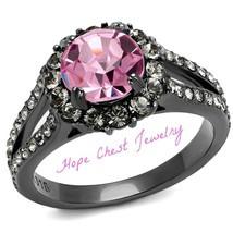 HCJ 1.65 CARAT DARK GRAY STAINLESS STEEL PINK CRYSTAL ENGAGEMENT RING SI... - $17.98
