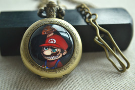 Super Mario Pocket Watch,Evil Mario and mushroom watch necklace,Childhoo... - $15.00