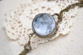 Full Moon Pocket Watch,Space moon pendent Necklace,Double side ball quar... - $15.00
