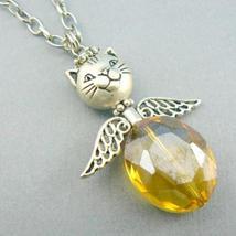Cat Angel (Topaz) Beaded Glass Necklace - $9.95