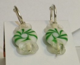 Green glass candy Silver plated stitch markers - $6.00