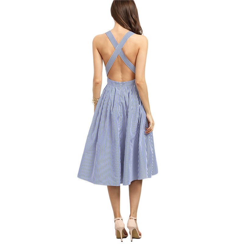 Women's Blue Striped Backless Summer Dress Long Maxi Beach Dress