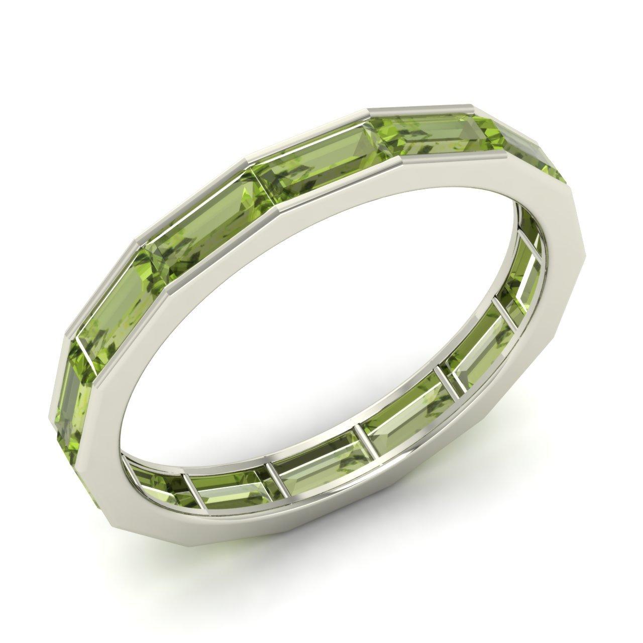 Peridot Band Ring White Gold