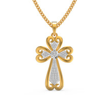 925 Sterling silver Two Tone Plated White Cz Fashion Cross Pendant With ... - $69.99