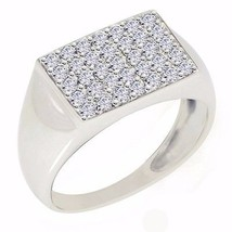 Stylish Men's Shiny Ring Cubic Zirconia Gemstone 925 Silver Ring Sz 9 SH... - $23.01