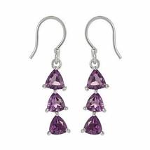 Wonderful Dangle Jewelry Solid Amethyst Gemstone 925 Sterling Earring SHER0001 - $17.33
