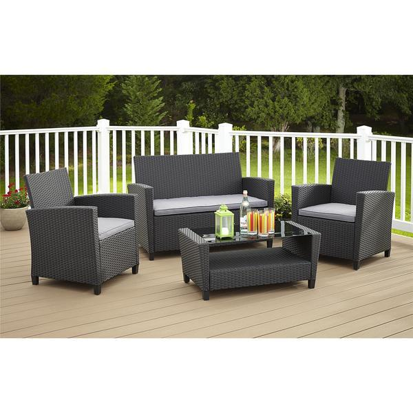 Outdoor Furniture Patio Set 4 Piece Black Wicker Sofa Rattan Chair with Cushi