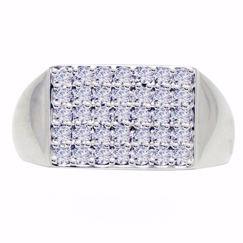 Stylish Men's Shiny Ring Cubic Zirconia Gemstone 925 Silver Ring Sz 9 SHRI0649