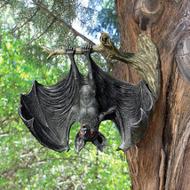 Red Eyed Vampire Bat on Tree Limb Halloween Decoration Wall Sculpture Prop - ₨4,110.55 INR