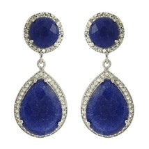 Royal Wedding Jewelry Dyed Sapphire & White Topaz Gemstone 925 Silver SHER0027 - $48.86