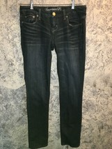 AMERICAN EAGLE low rise dark wash skinny straight denim blue jeans 5 whi... - $22.80