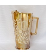 JEANNETTE GLASS TALL COSMO PITCHER WHITE ON MARIGOLD GLASS VGC - $19.50