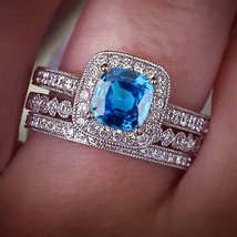 Cushion Cut Blue Sapphire 925 Sterling Silver Trio Engagement Wedding Ring Set - $158.99