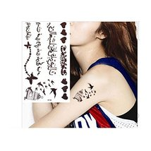 Arabic Word Temporary Tattoos Brown Butterfly Cage Bird Parrot Love Wate... - $5.93