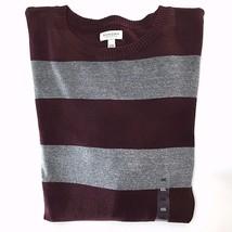 Sonoma Fine Gauge Striped Crewneck Sweater XXL Burgundy Gray Long Sleeve - $24.74