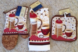 Coffee Hot Pads Oven Mitt Kitchen Towel 4 pc Set - $15.79