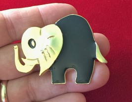 More Modern Enamel & Gold Tone Elephant Brooch Pin - $11.64