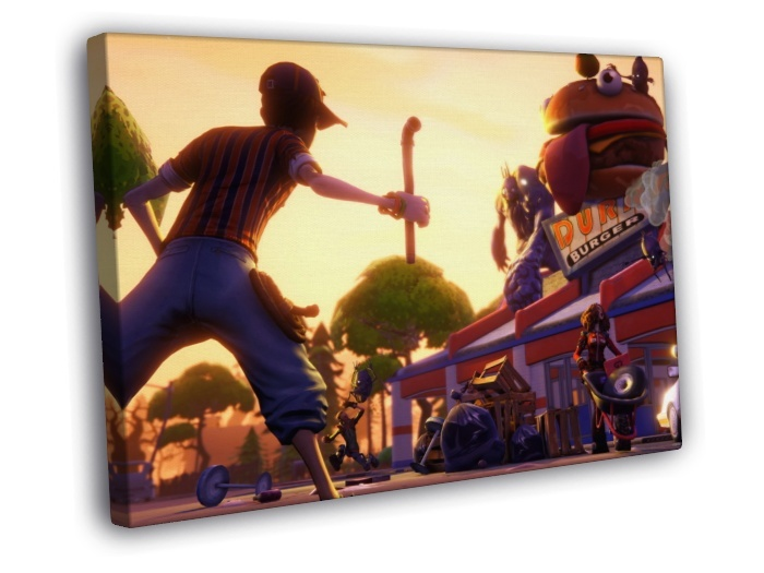 Fortnite Cool Epic Video Game 16x12 FRAMED CANVAS Print  Art Posters
