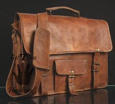 "15"" Leather Messenger Bags Handbag Crossbody Briefcase Brown Vintage Lap... - $45.14"