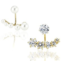 Pearl and Sparkling AAA CZ Front Back Bundle Cuffs Mismatch Style  - $44.79