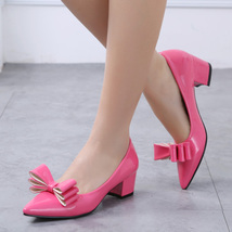 pp186 cutie spell color pumps, thick & high heel,size 32-38, rosary red - $48.80