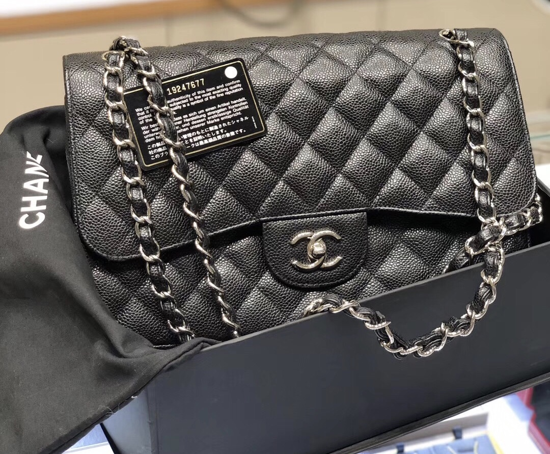 BRAND NEW AUTHENTIC CHANEL BLACK CAVIAR QUILTED JUMBO DOUBLE FLAP BAG SHW