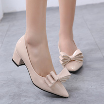 pp186 cutie spell color pumps, thick & high heel,size 32-38, apricot - $48.80
