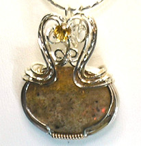 LOUISIANA OPAL (Extremely Rare) Pendant w/ Citrine - Red/Yellow/Orange F... - $245.00