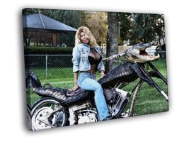 Alligator Chopper Busty Babe Cruiser 16x12 Framed Canvas Print - $22.46
