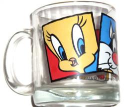 Looney Tunes Tweety Coffee Cup Sylvester Bugs Glass  Mug 1994 Vintage - $12.97