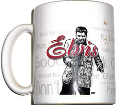 Elvis Presley Coffee Mug Song Titles Ceramic Rock Roll Music - $12.97