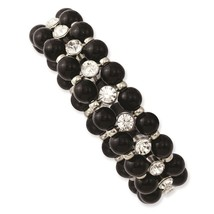 Black Beads & Clear Glass Stones Silver Tone 19... - $35.23