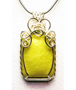 Yellow Jade Handmade Wire-Wrapped Pendant - Abs... - $85.00
