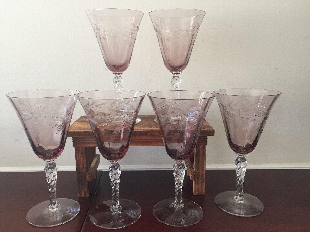 Vintage Fostoria Arvida Orchid Glass Wheel Cut Water Goblets 1927