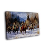 Native American Horses Wigwams Snow Art Indians Framed Canvas Print - $25.46