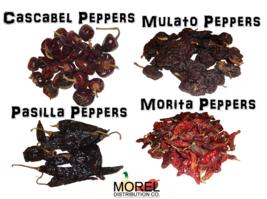 Combo of Dried Chili Peppers: Cascabel, Morita, Mulato, & Pasilla 8 oz a... - $15.00+