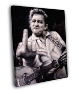 Johnny Cash Giving the Finger Art BW Music 16x12 Framed Canvas Print - $25.46