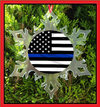 Thin Blue Line American Flag Christmas Ornament   Police Support  - $12.95