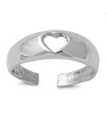 Heart Shape Womens Adjustable Toe Ring 14k White Gold Plated 925 Sterlin... - $9.99